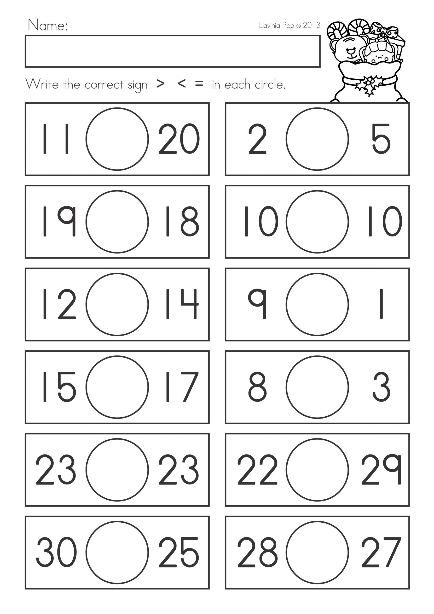Comparing Numbers Worksheets 2nd Grade Worksheets Paring Numbers Worksheets for First Grade