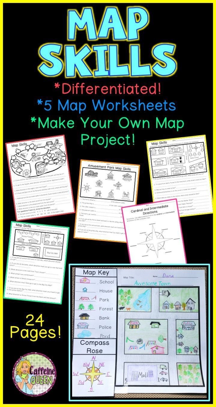 Compass Rose Worksheets Middle School Map Skills Make Your Own Map Project
