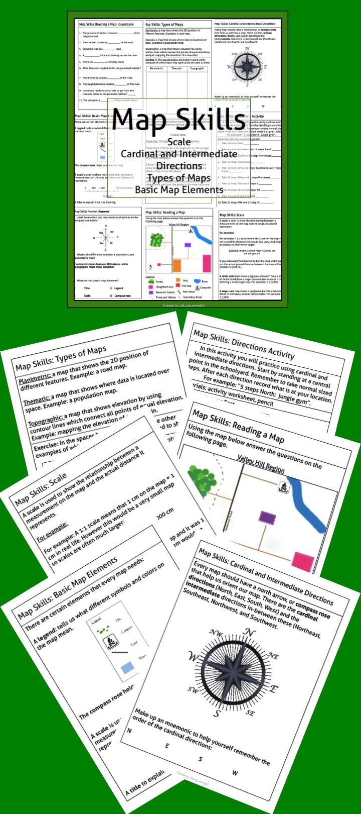 Compass Rose Worksheets Middle School This Package Contains A Variety Of Handouts Worksheets A