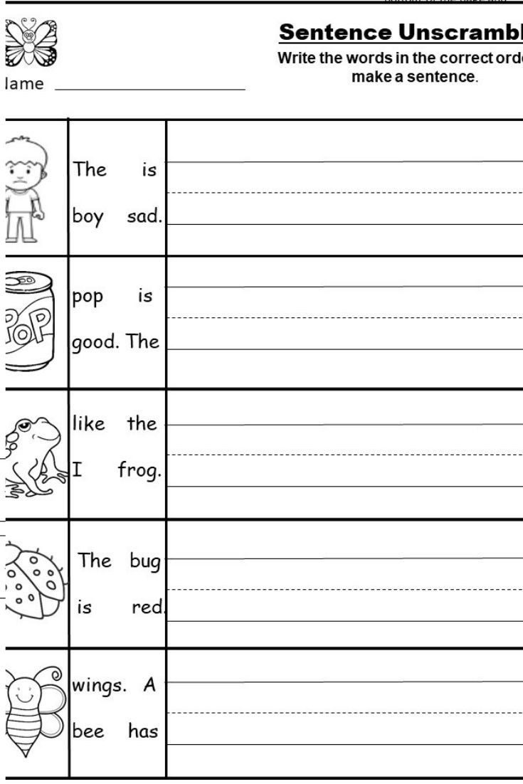 Complete Sentences Worksheet 1st Grade Free Kindergarten Writing Printable Kindermomma