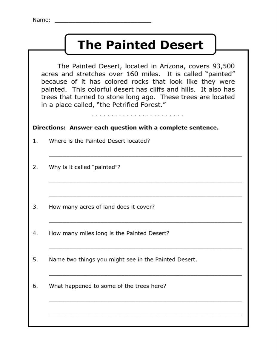Complete Sentences Worksheet 4th Grade 4th Grade Reading Prehension Worksheets Best Coloring