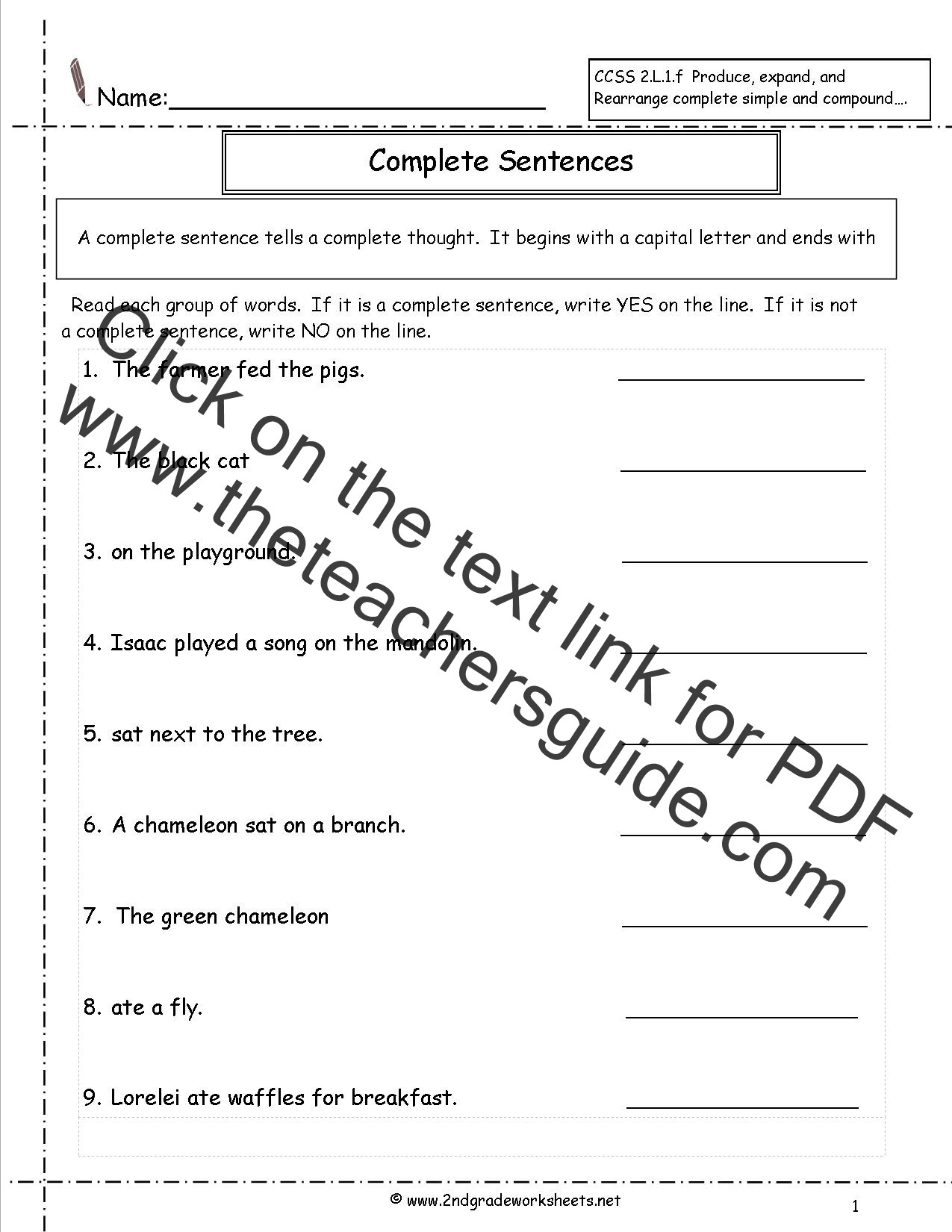Complete Sentences Worksheet 4th Grade Second Grade Sentences Worksheets Ccss 2 L 1 F Worksheets