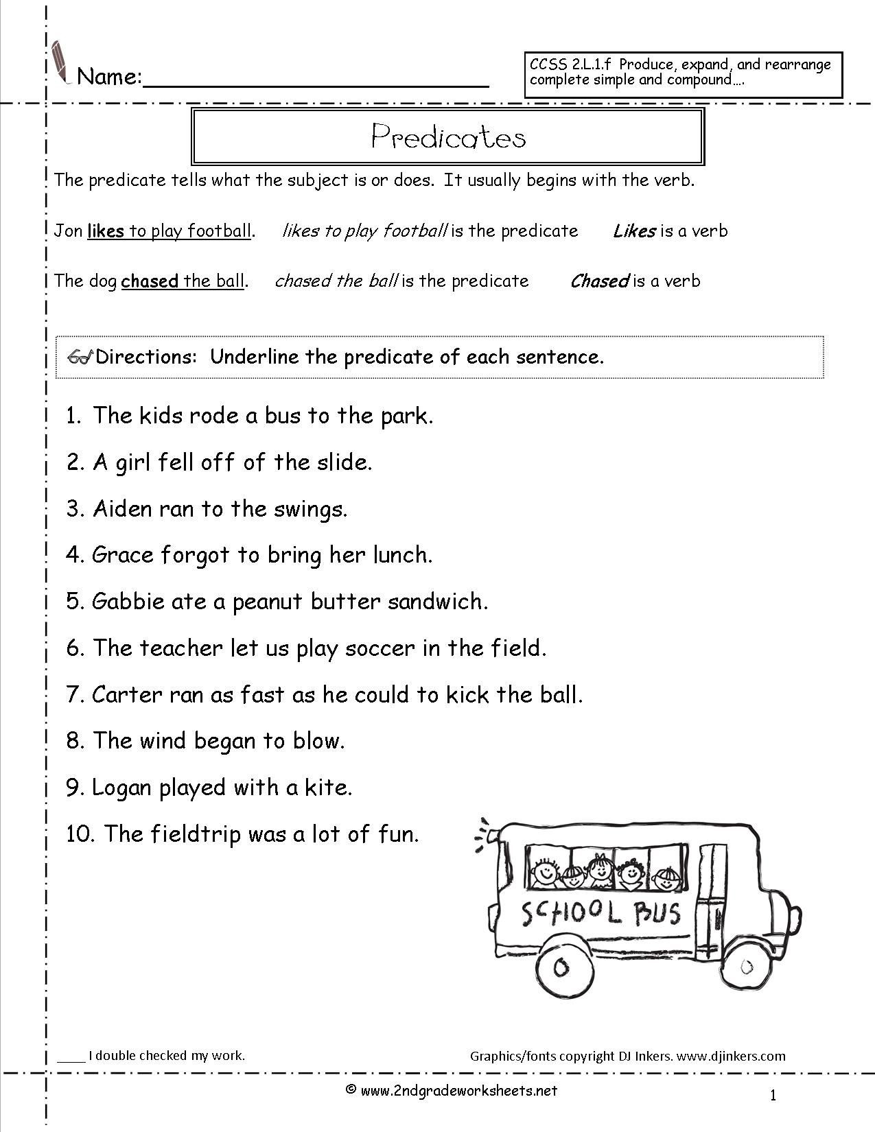 Complete Sentences Worksheets 3rd Grade Subject and Predicate Sentences Worksheets for 3rd