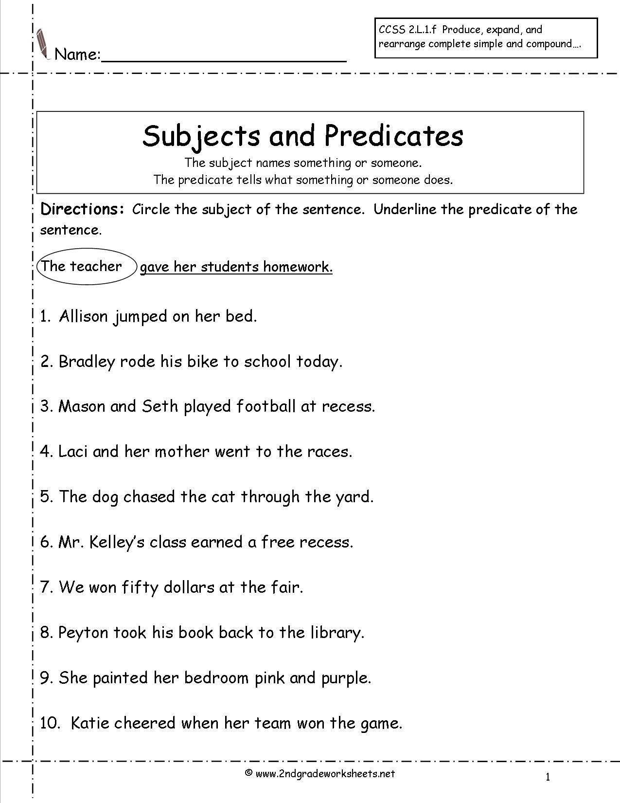 Complete Sentences Worksheets 4th Grade Subject Predicate Worksheets 2nd Grade Google Search