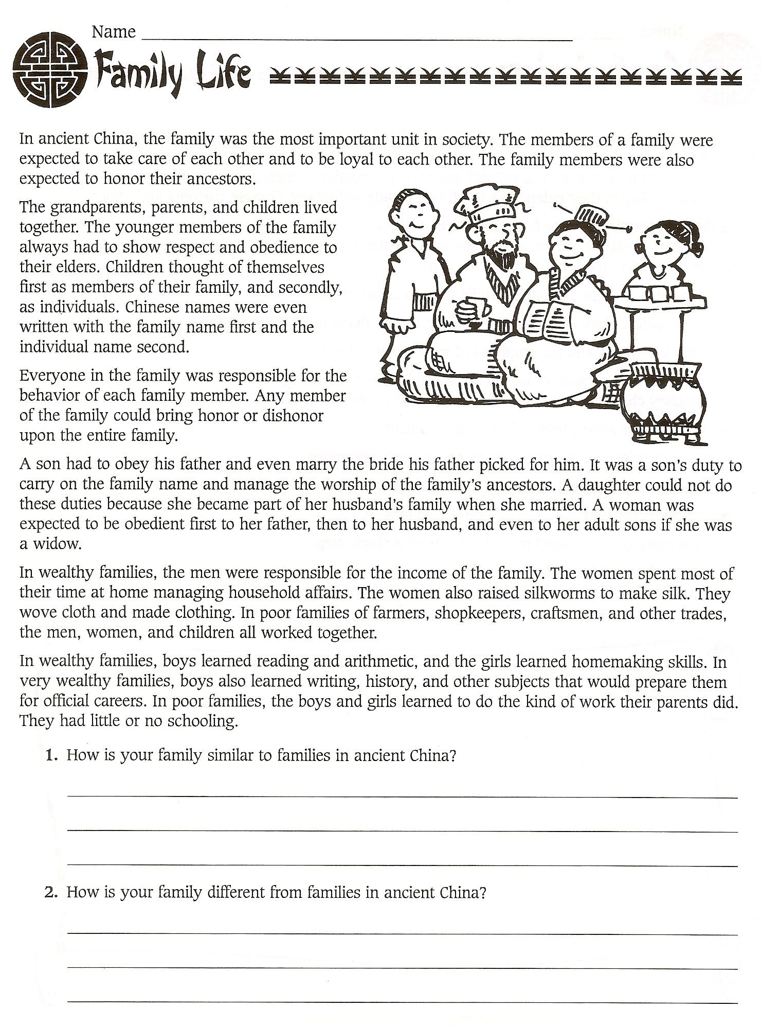 Comprehension Worksheets 6th Grade 6th Grade social Stu S Ancient China Worksheets Free