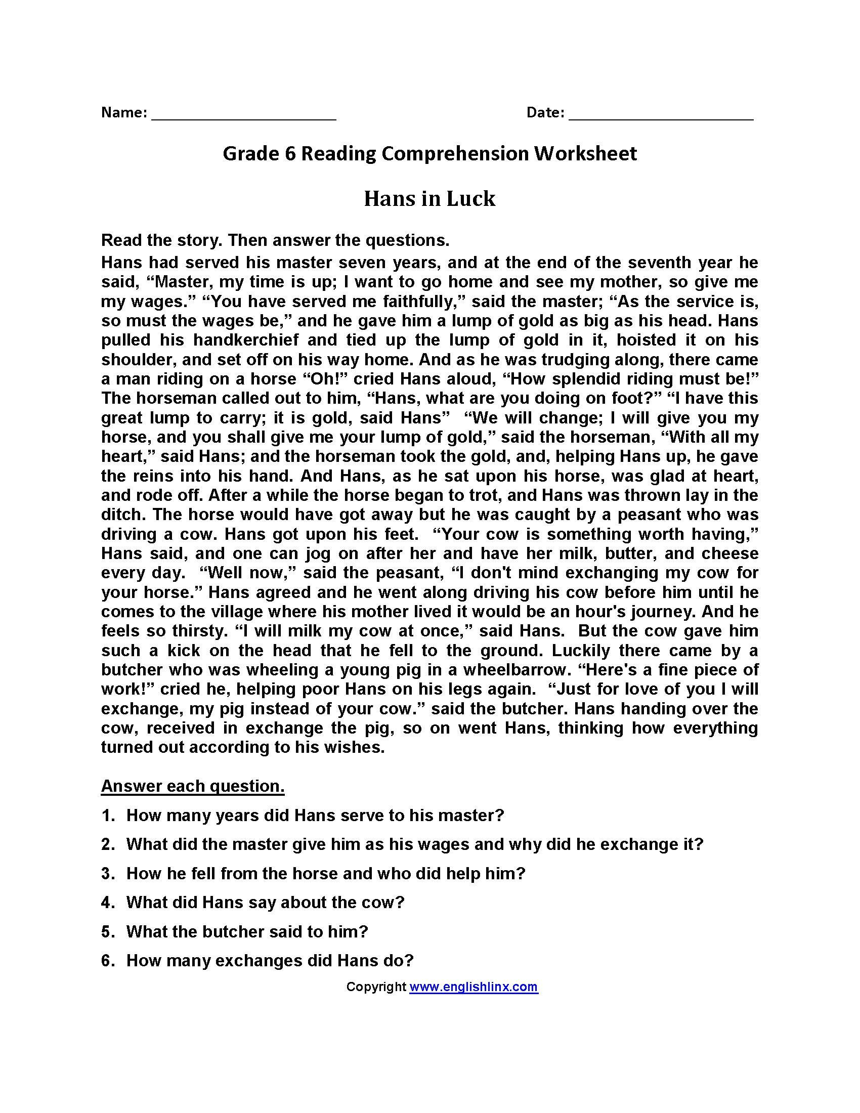 Comprehension Worksheets 6th Grade Free Printable Reading Worksheets for Grade 6 In 2020