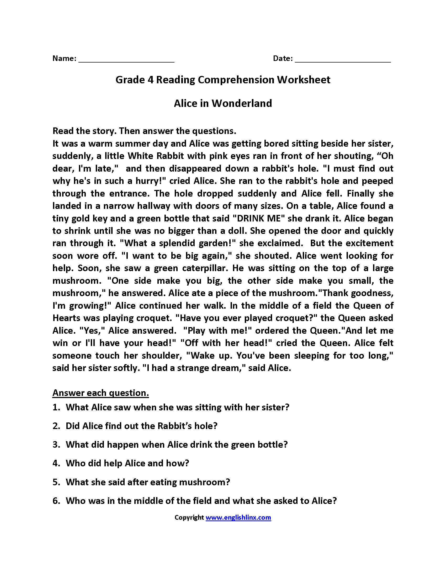 Comprehension Worksheets for Grade 6 4th Grade Reading Prehension Worksheets Thanksgiving