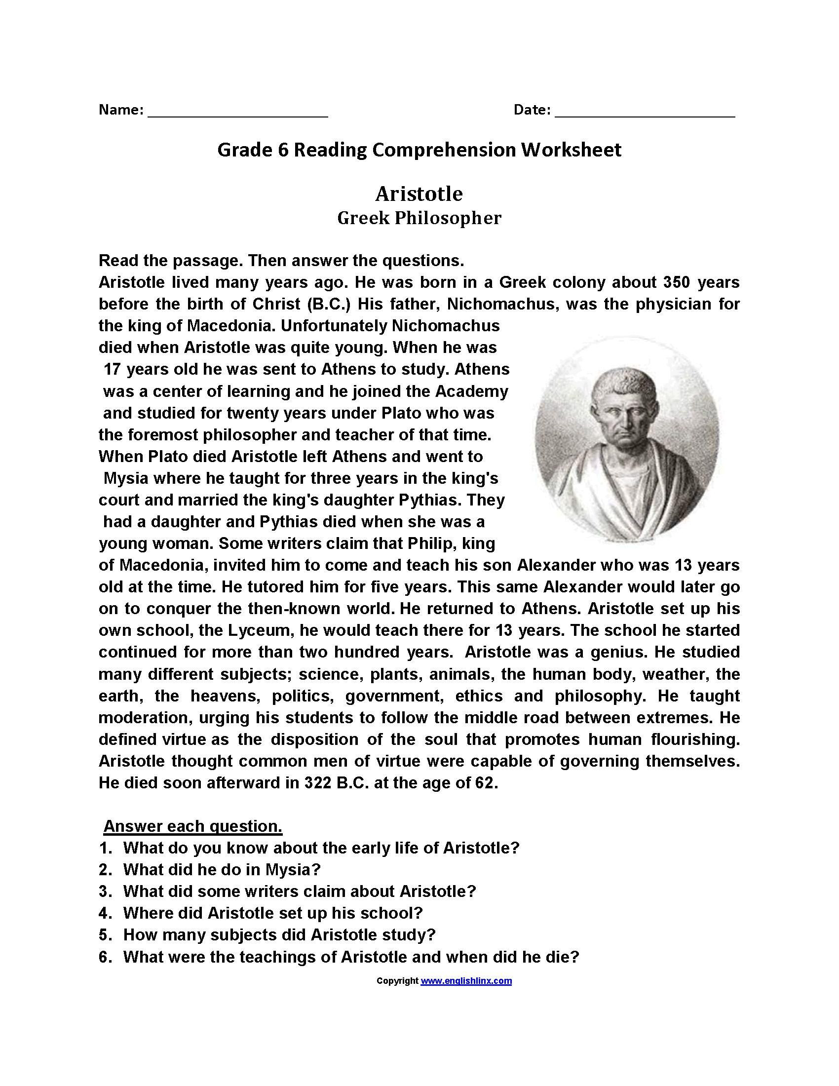 Comprehension Worksheets for Grade 6 Free Printable Reading Worksheets for Grade 6 в 2020 г