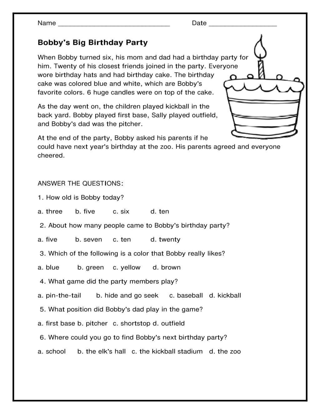 Comprehension Worksheets for Grade 6 Worksheet Outstanding First Grade Reading Prehensions