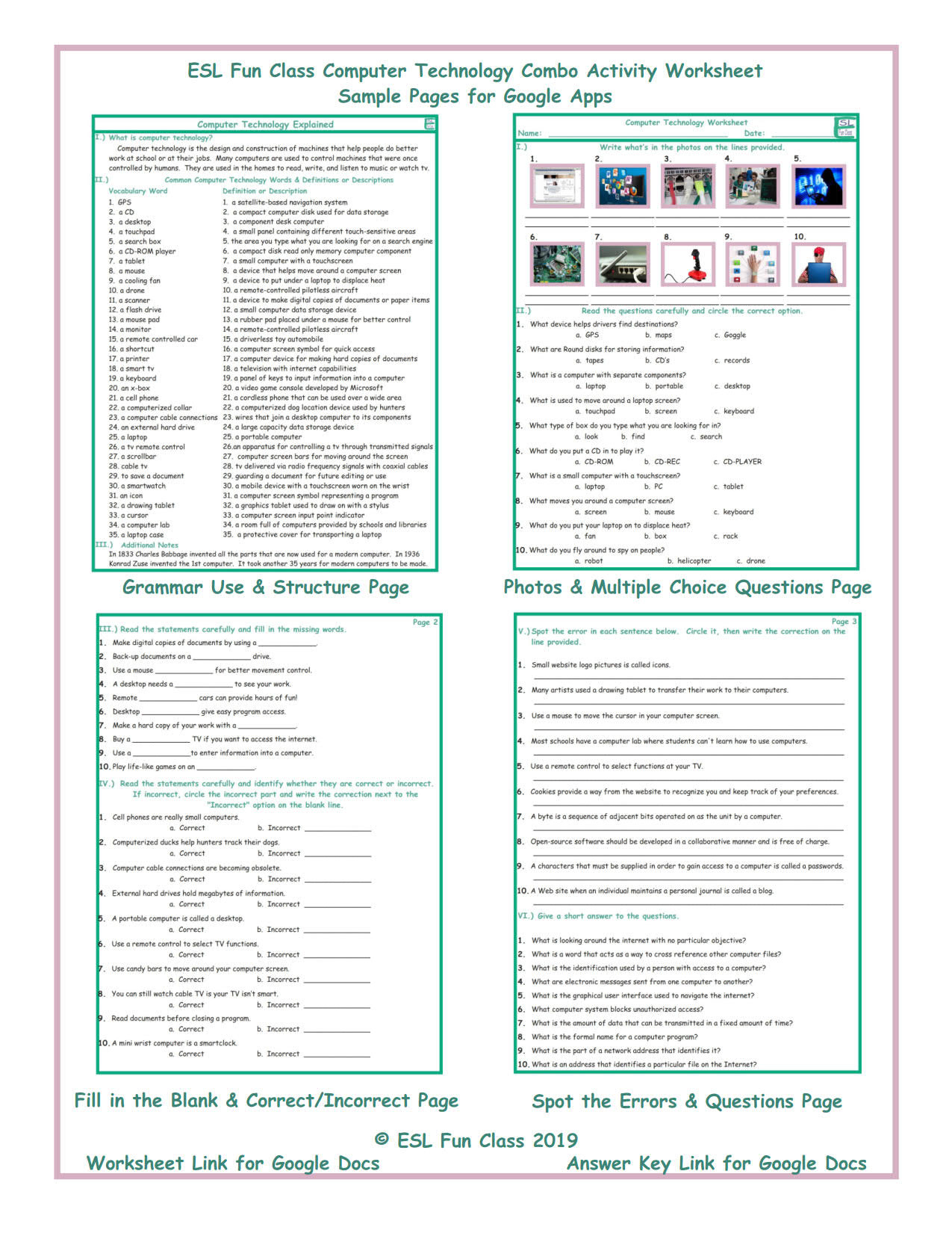 Computer Worksheets for Middle School Puter Technology Interactive Worksheets for Google Apps
