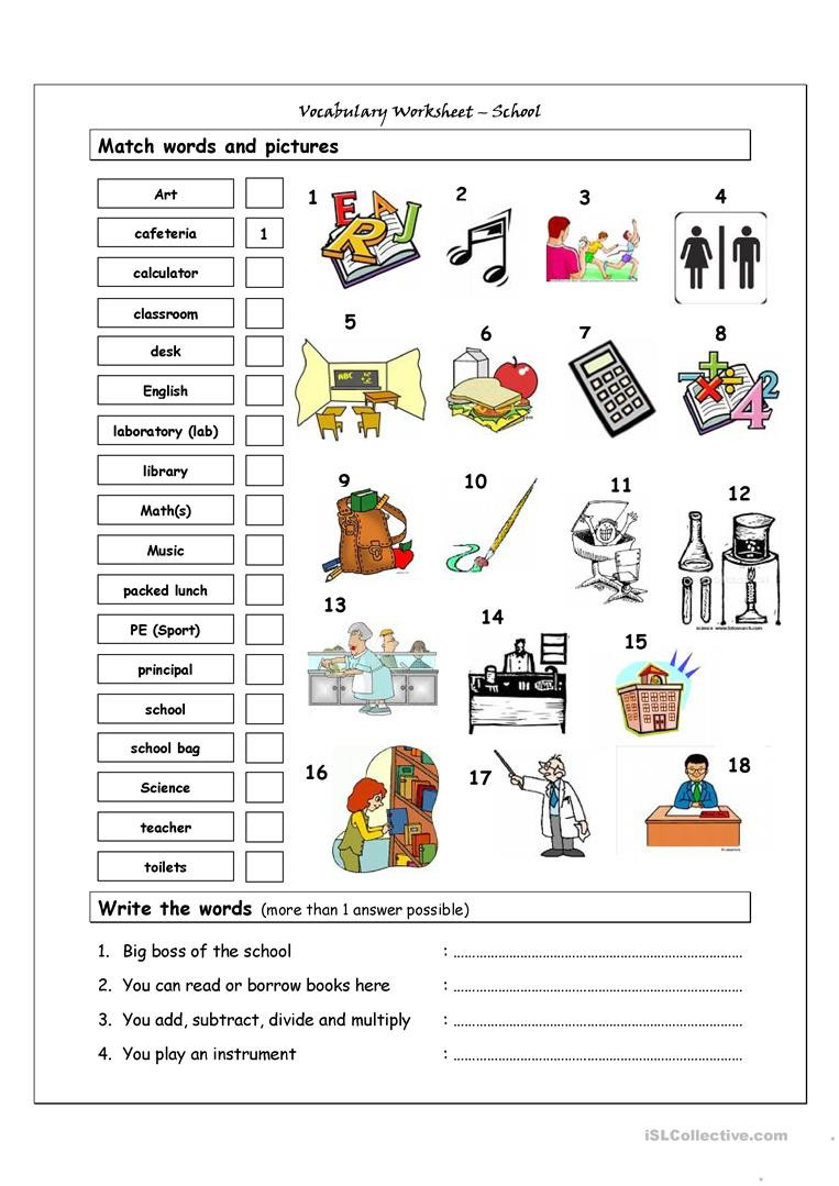 Computer Worksheets for Middle School Vocabulary Matching Worksheet School English Esl Worksheets