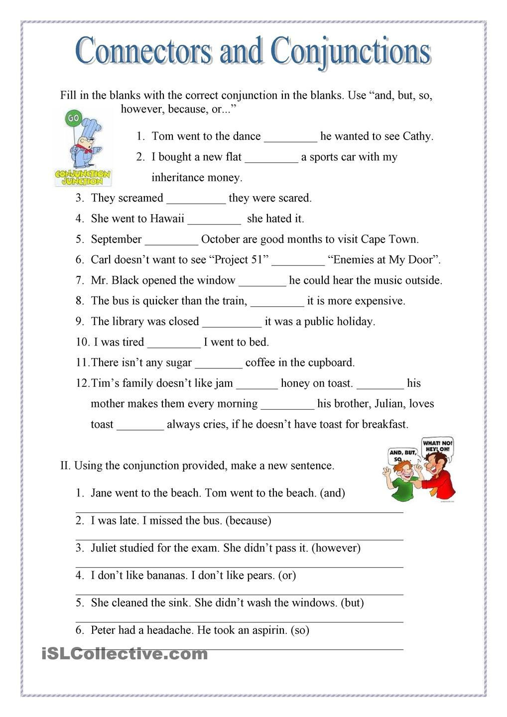 Conjunction Worksheet 3rd Grade Conjuctions and Connectors