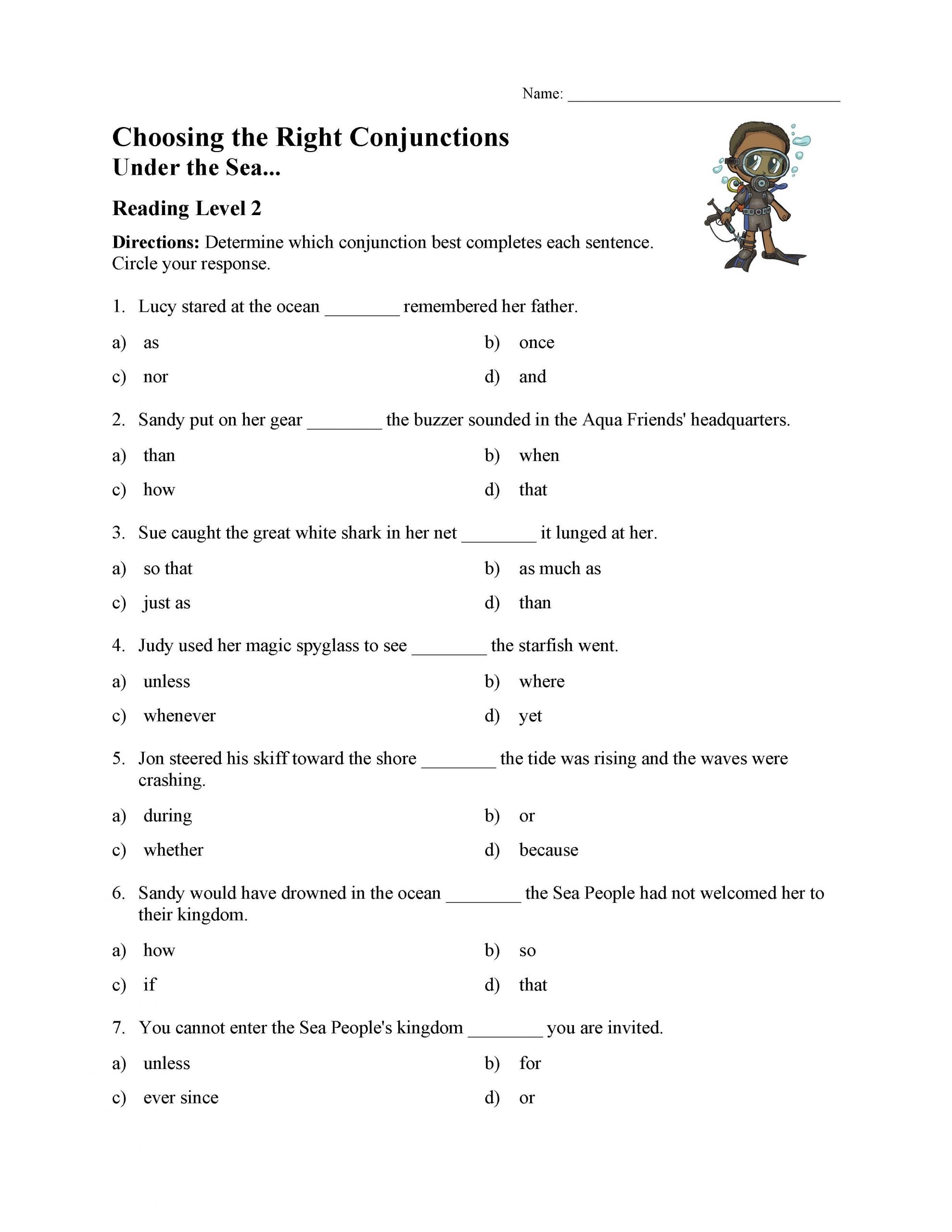 Conjunction Worksheets 6th Grade Choosing the Right Conjunction Worksheet Reading Level 2