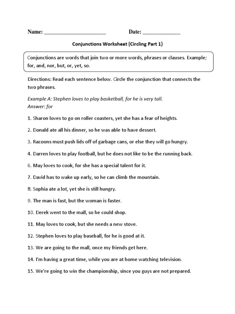 Conjunction Worksheets 6th Grade Conjunctions Circling P 1 Intermediate