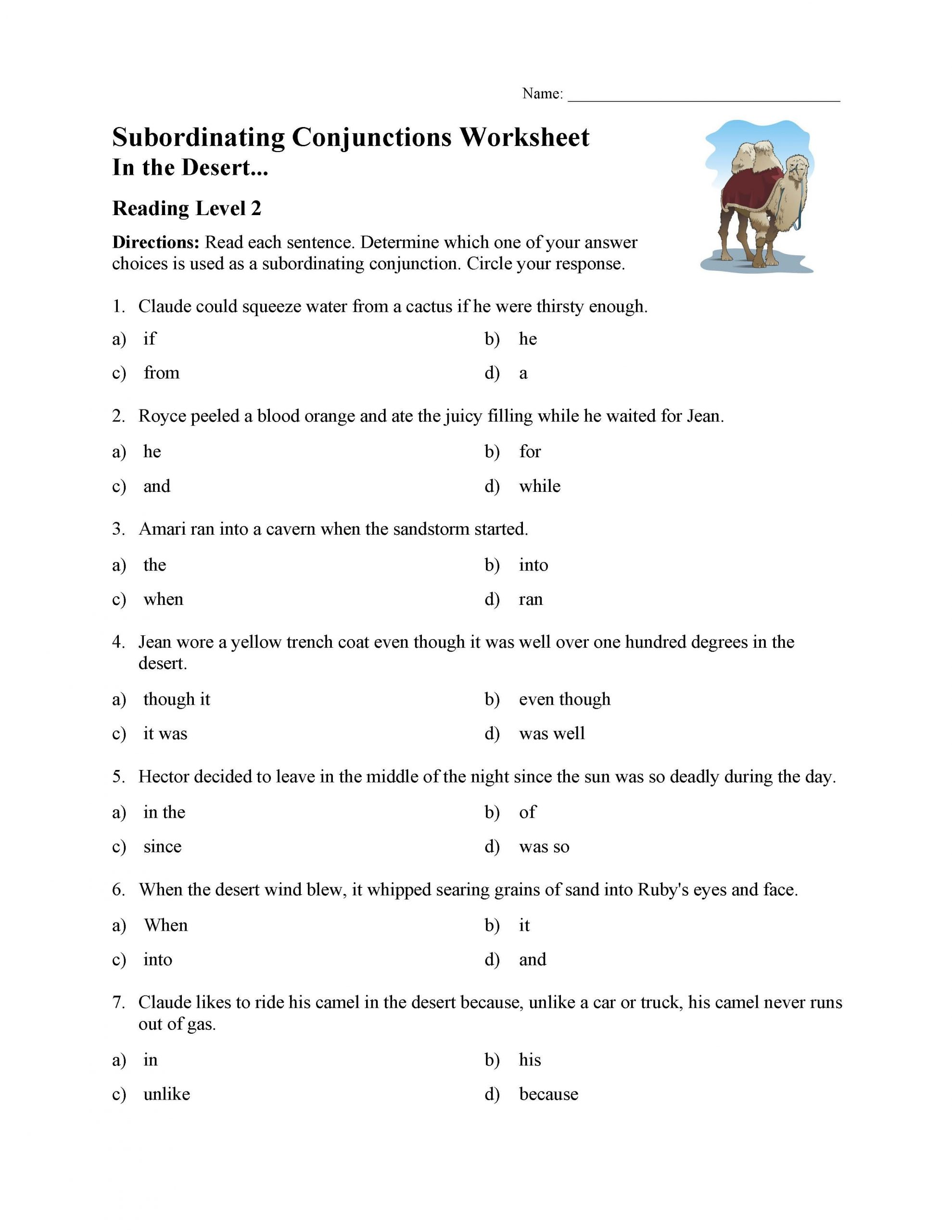 Subordinating Conjunctions Worksheet Reading Level 2