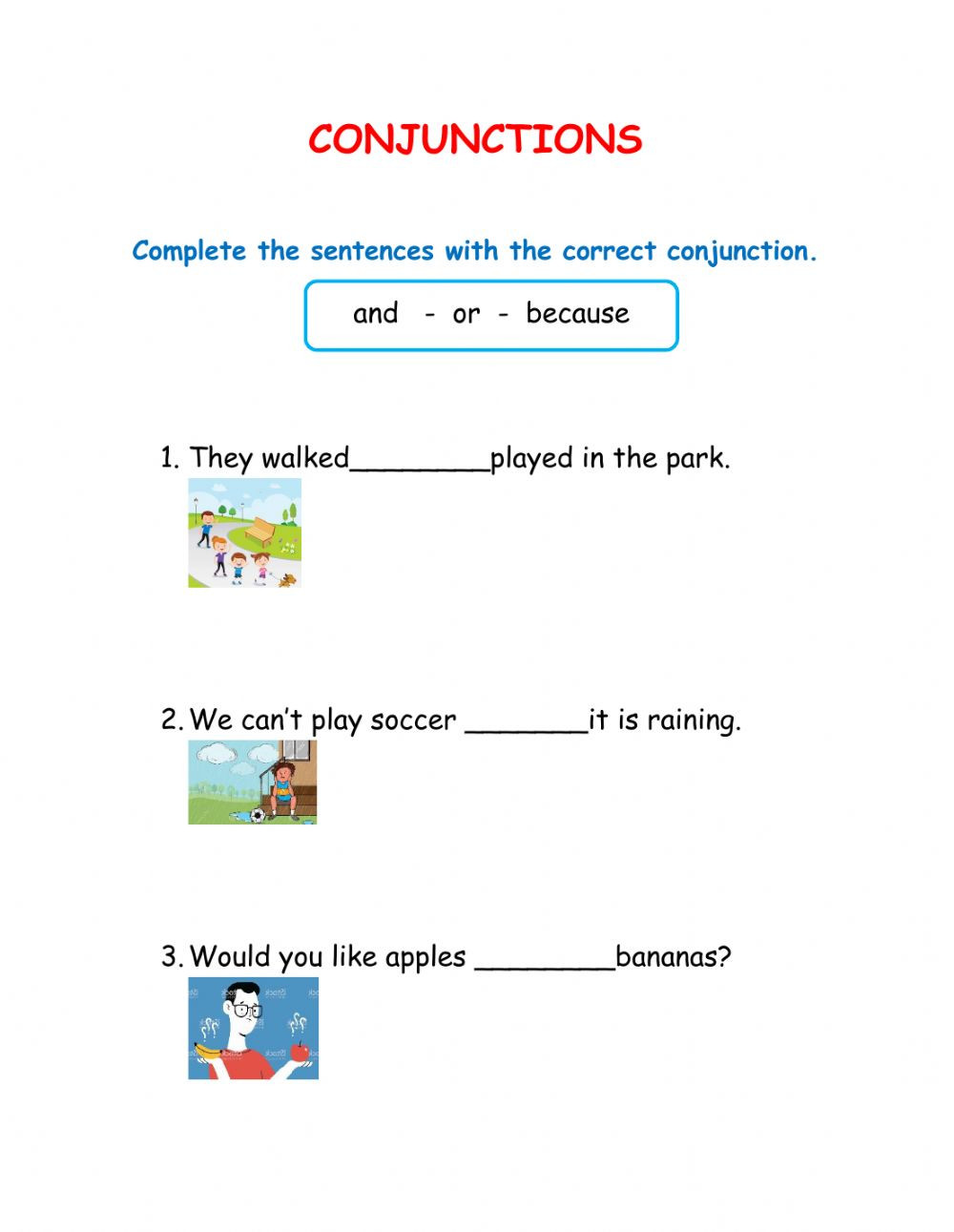 Conjunctions Worksheets for Grade 3 Conjunctions Interactive Worksheet