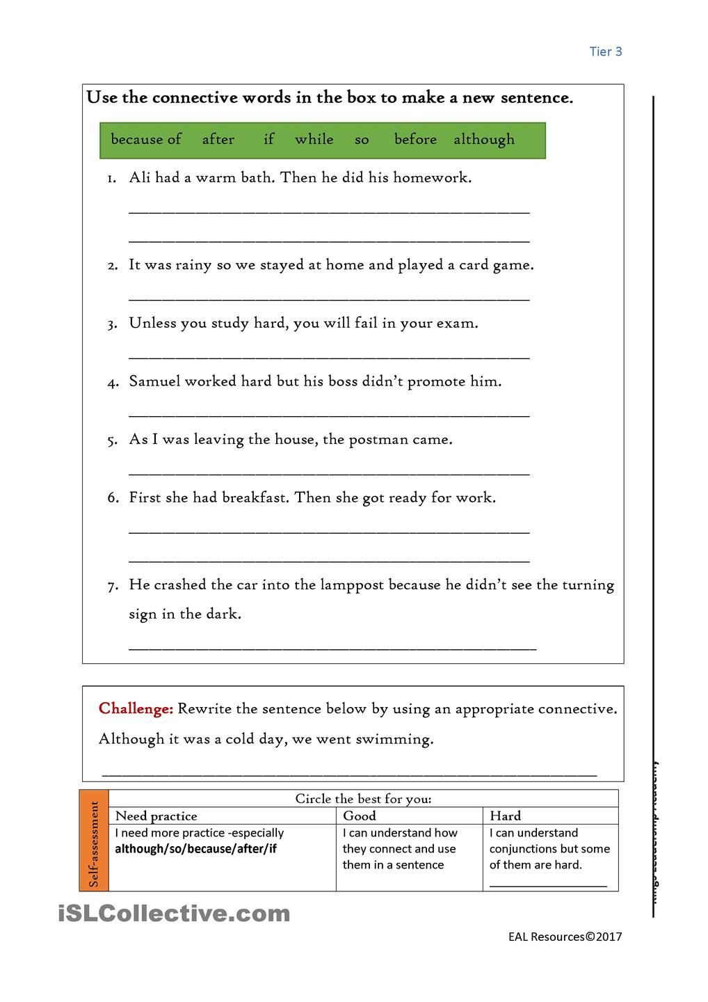 Conjunctions Worksheets for Grade 3 Conjunctions