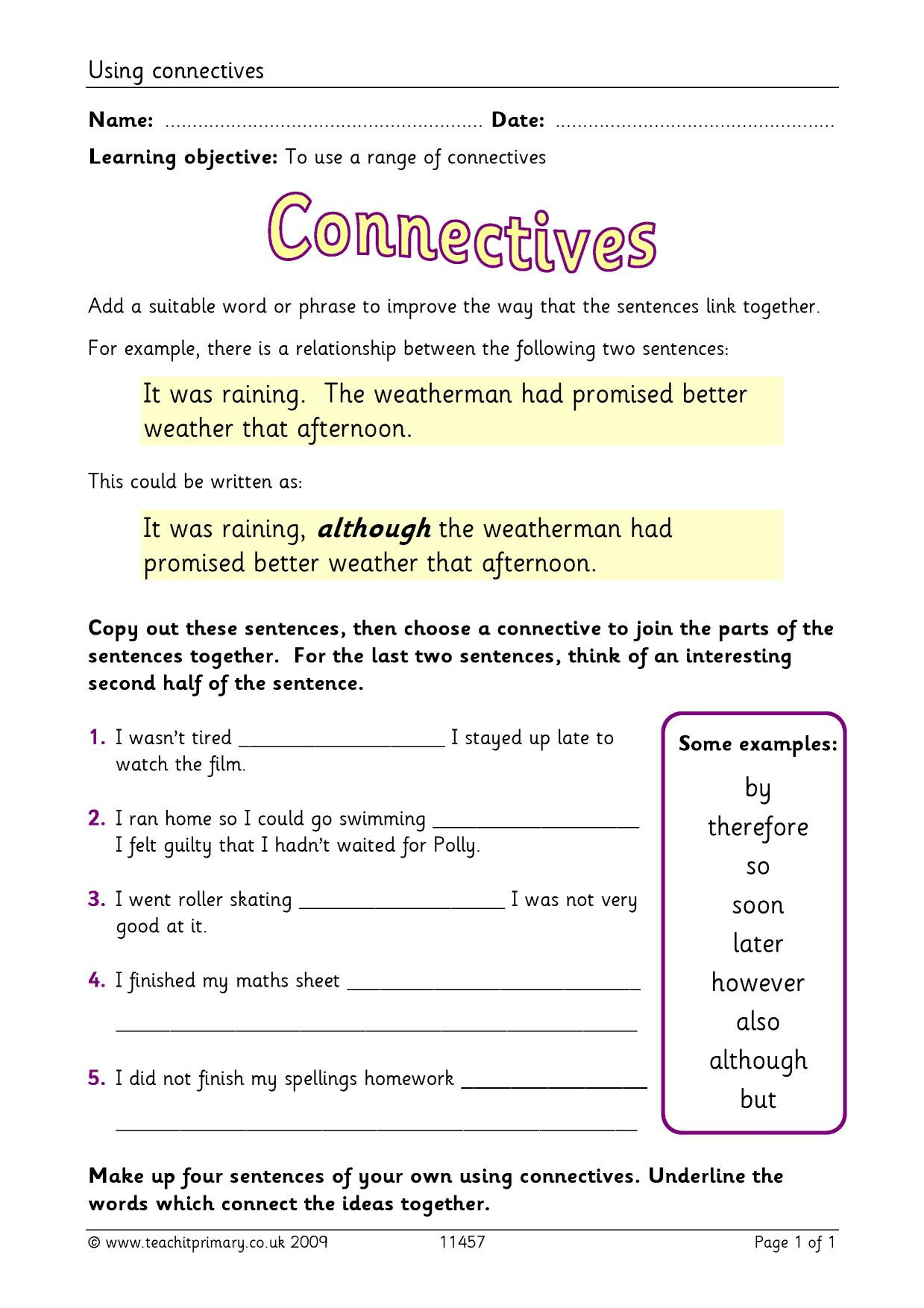 Conjunctions Worksheets for Grade 3 Ks2 Conjunctions and Connectives