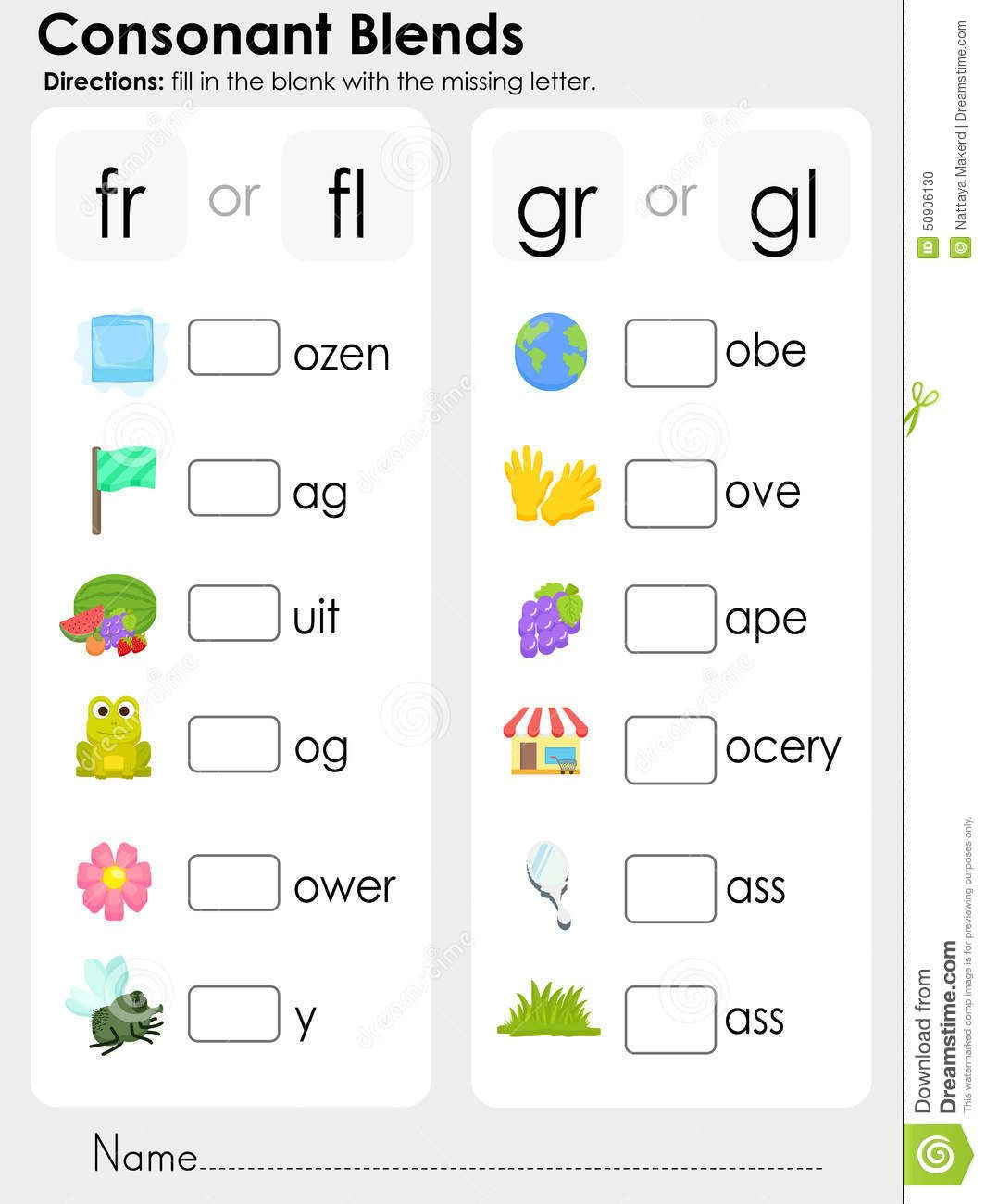 Consonant Blends Worksheets 3rd Grade Consonant Blends Missing Letter Worksheet for Education