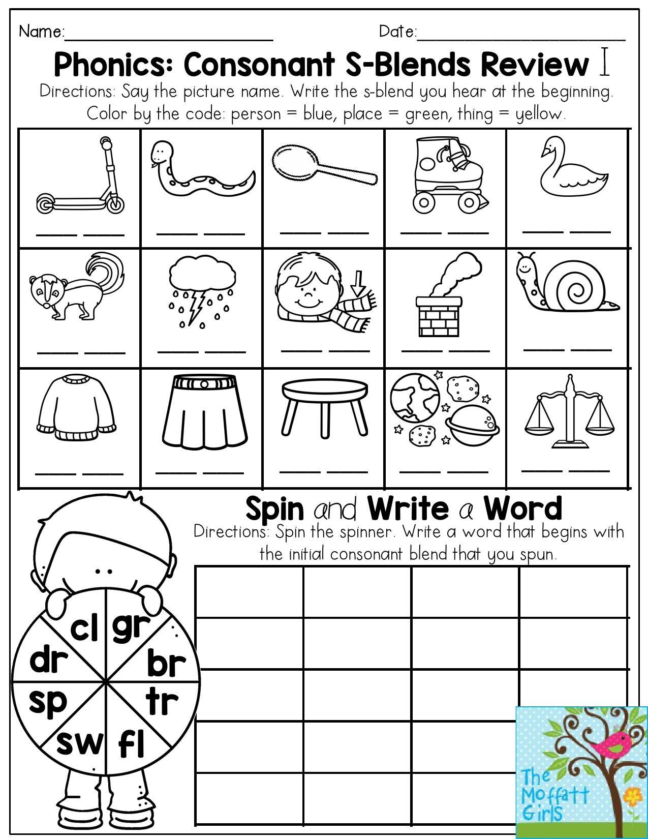 Consonant Blends Worksheets 3rd Grade Phonics Consonant S Blends Review Write the S Blend that