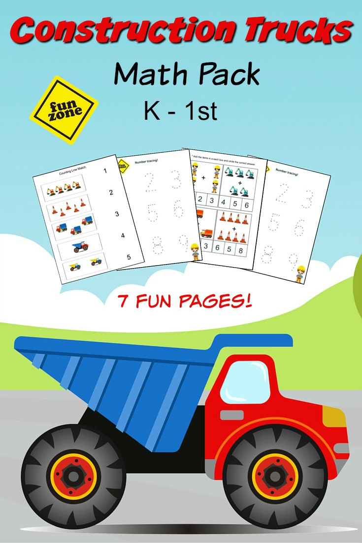 Construction Math Worksheets Construction Trucks Math Pack for Kindergarten to 1st Grade