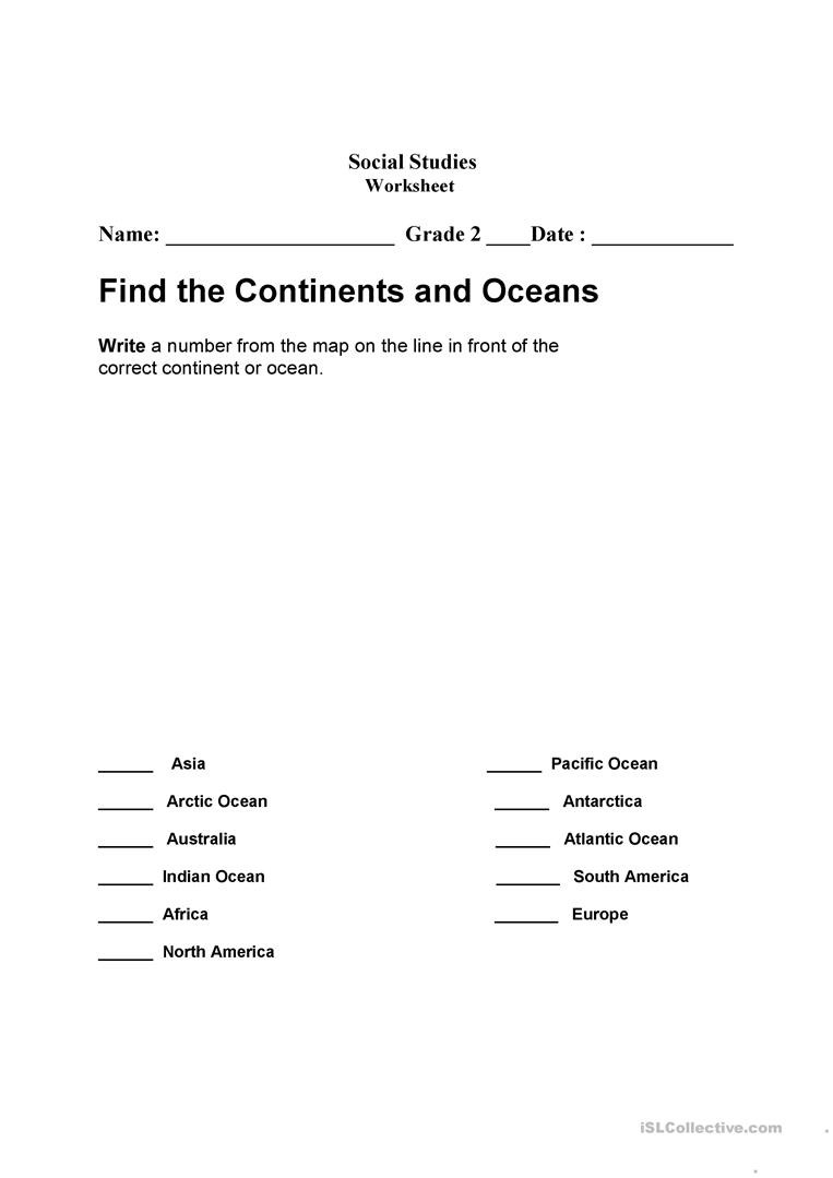 Continents and Oceans Printable Worksheets Continents and Oceans English Esl Worksheets for Distance