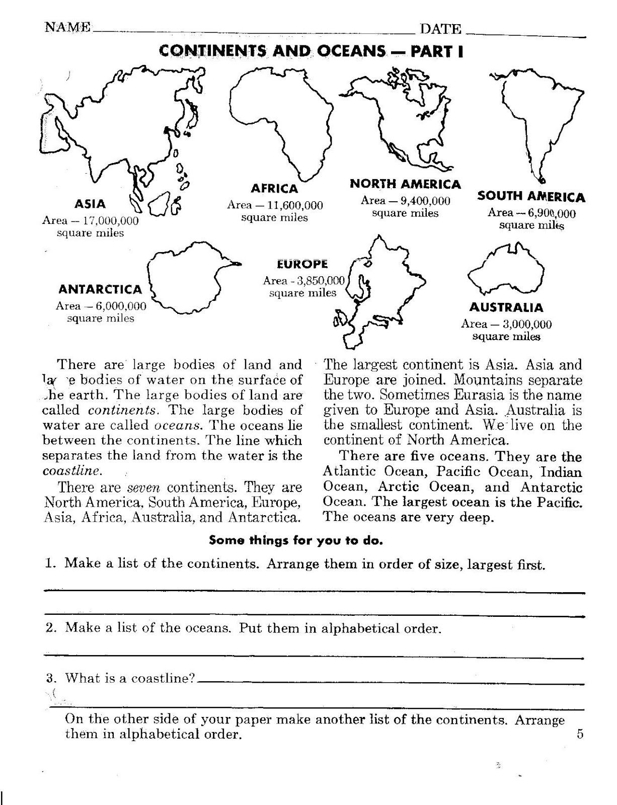 Continents and Oceans Printable Worksheets Continents and Oceans Worksheets