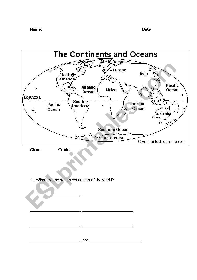 Continents and Oceans Worksheet Printable Continents and Oceans Esl Worksheet by Bbrenton