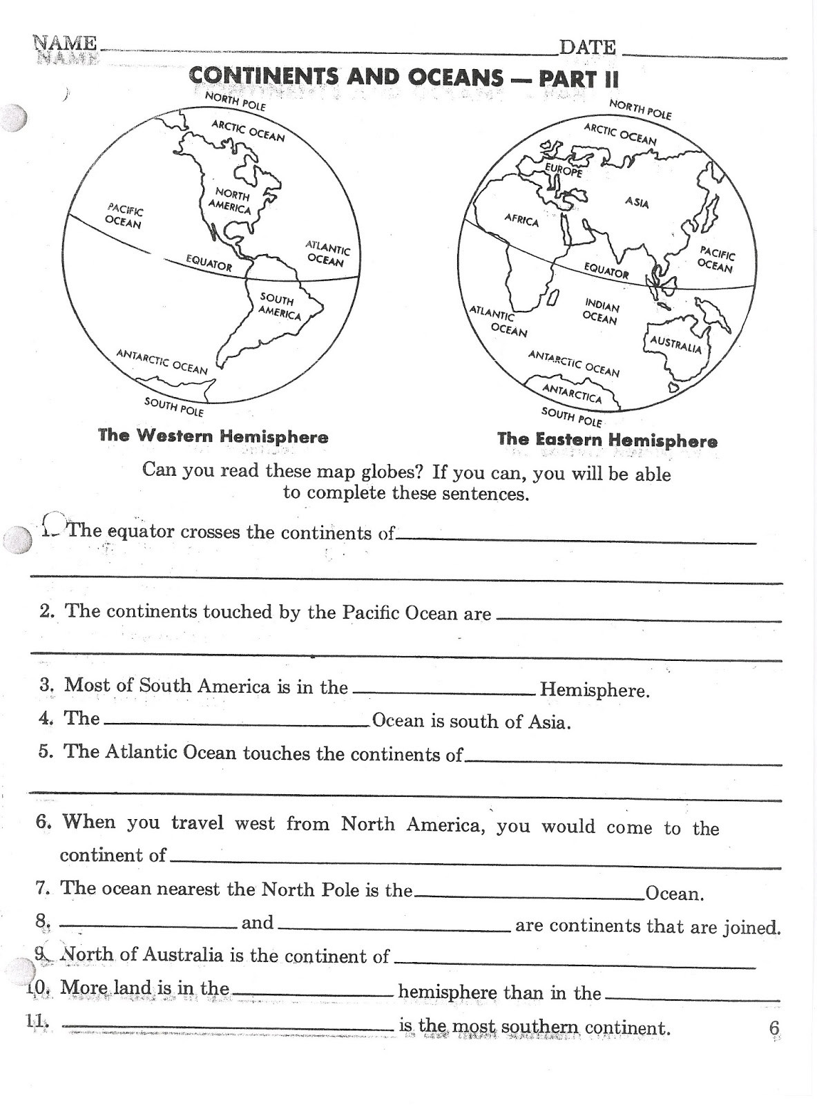 Continents and Oceans Worksheet Printable Super Teacher Worksheets Continents