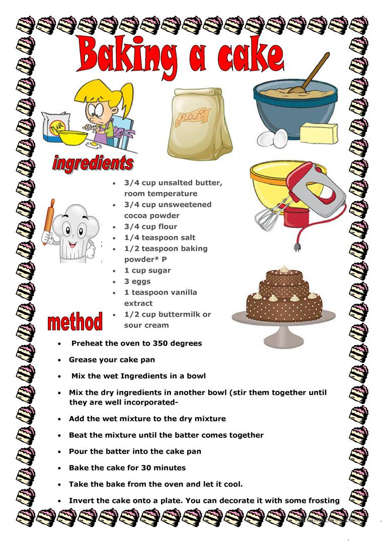 Cooking Worksheets for Middle School Baking Cake English Esl Worksheets for Distance Learning and