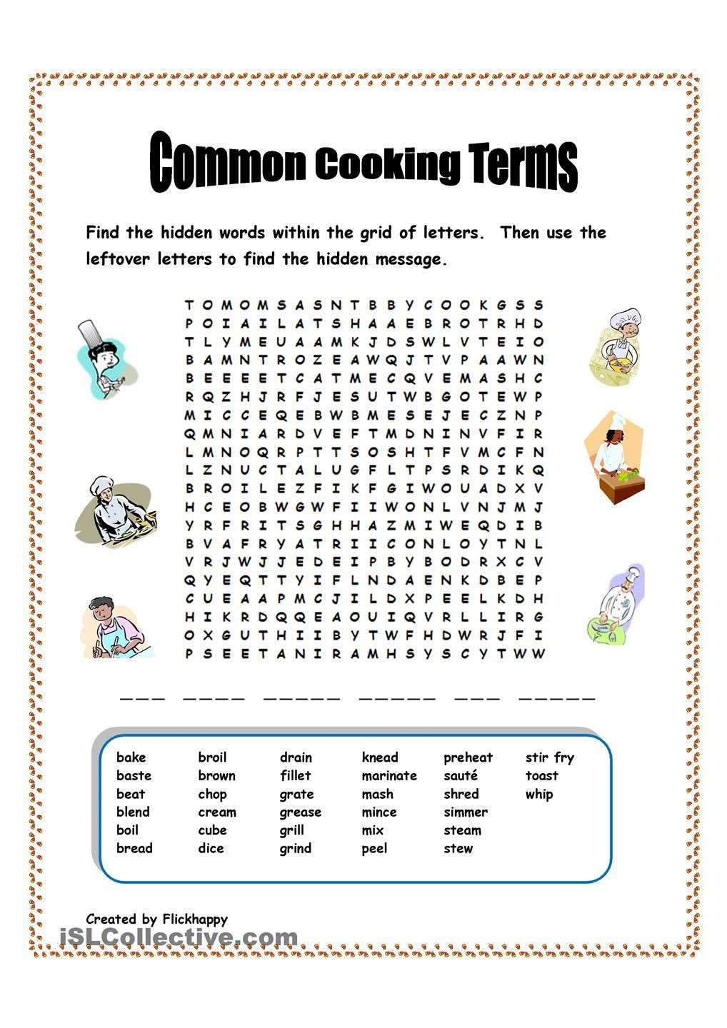 Cooking Worksheets for Middle School Mon Cooking Terms