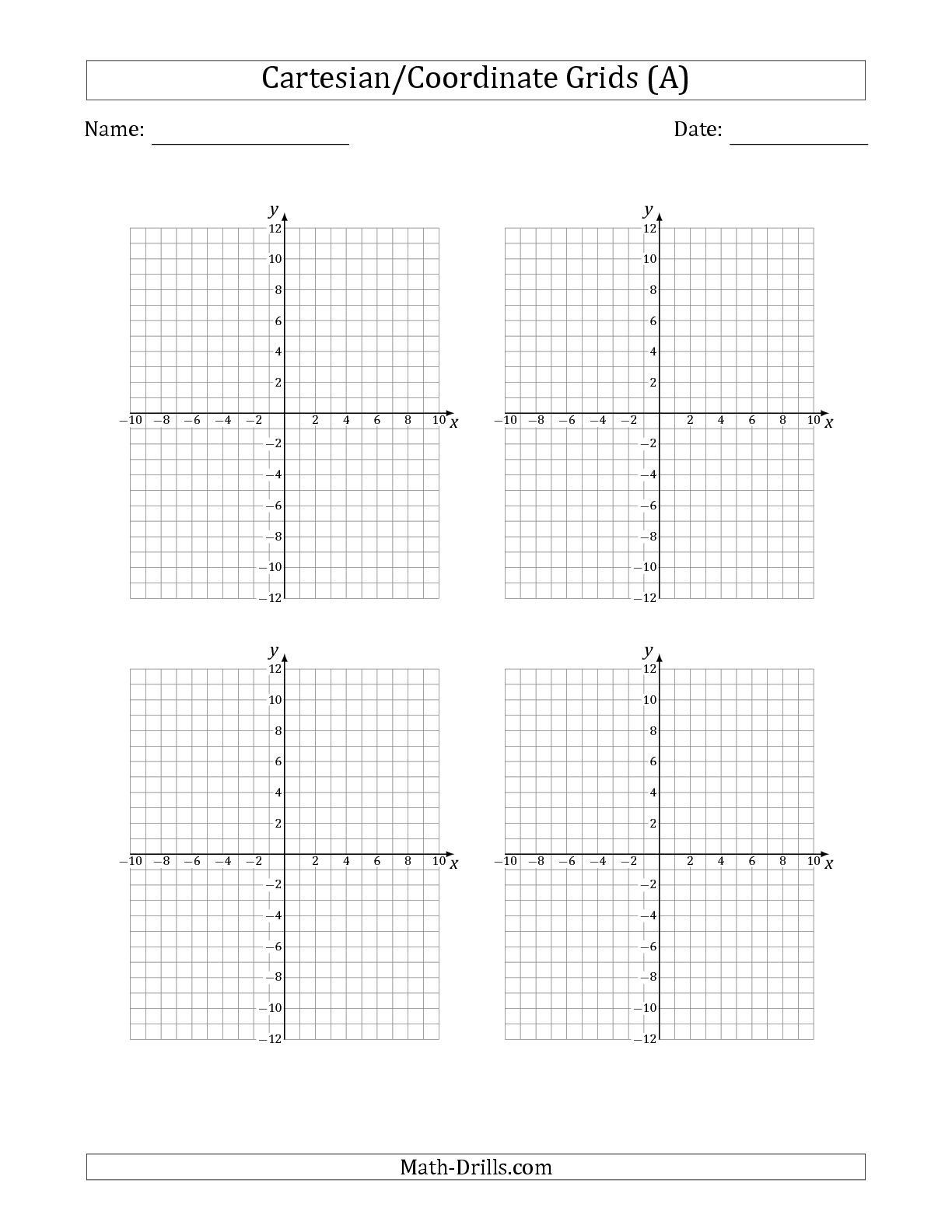 Coordinate Grid Worksheets 5th Grade the 4 Per Page Cartesian Coordinate Grids Math Worksheet