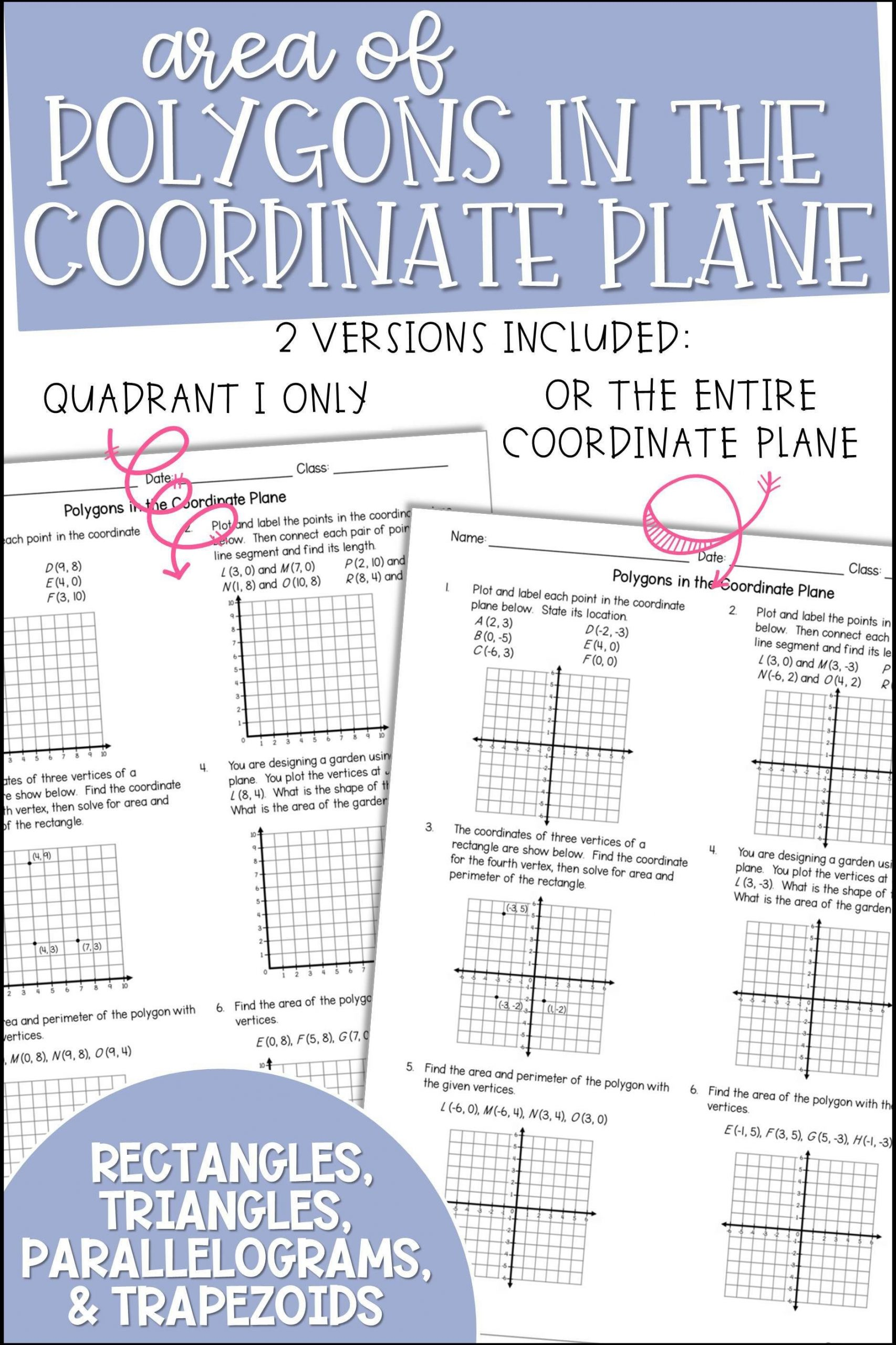 Coordinate Plane Worksheets 5th Grade area Of Polygons In the Coordinate Plane