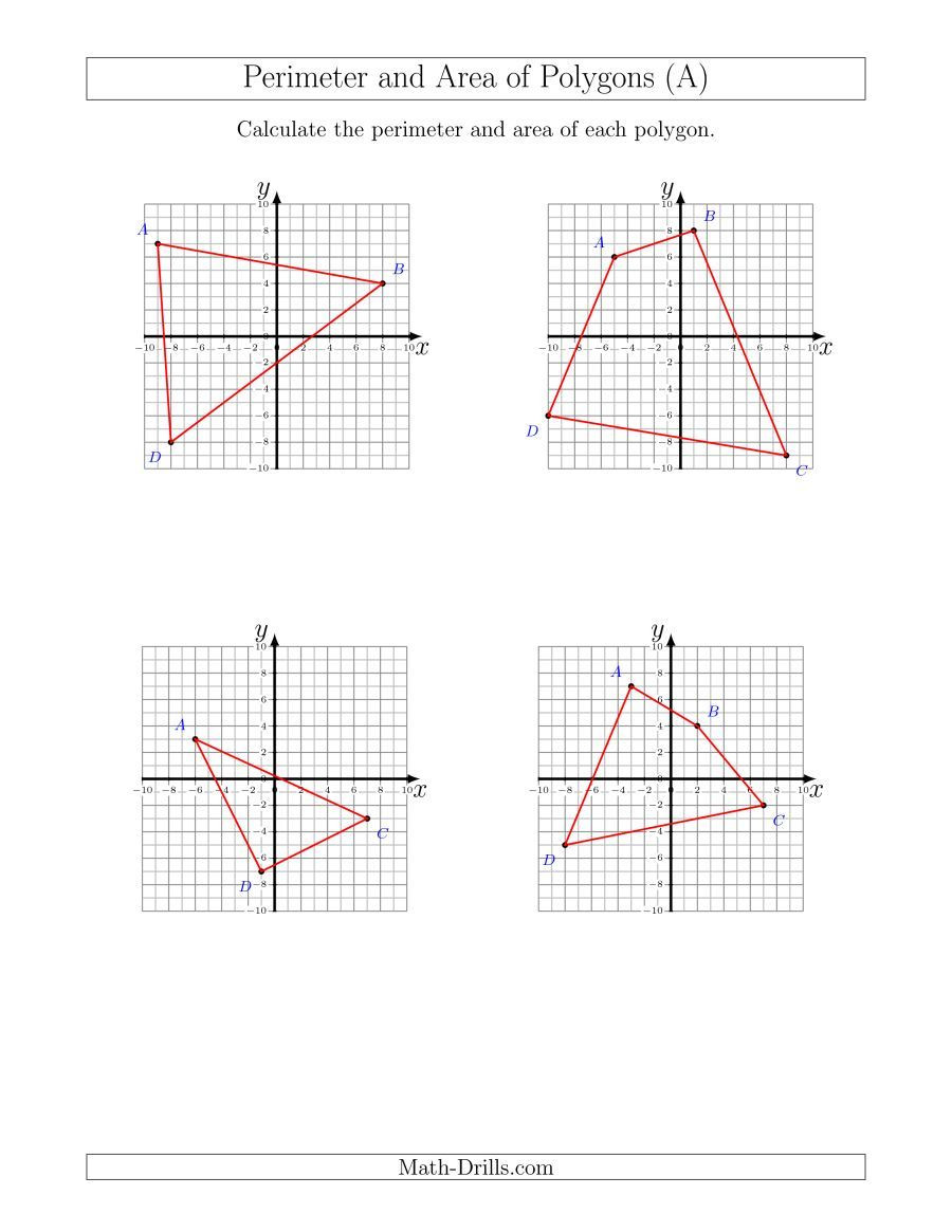 Coordinate Plane Worksheets 5th Grade the Perimeter and area Of Polygons On Coordinate Planes A