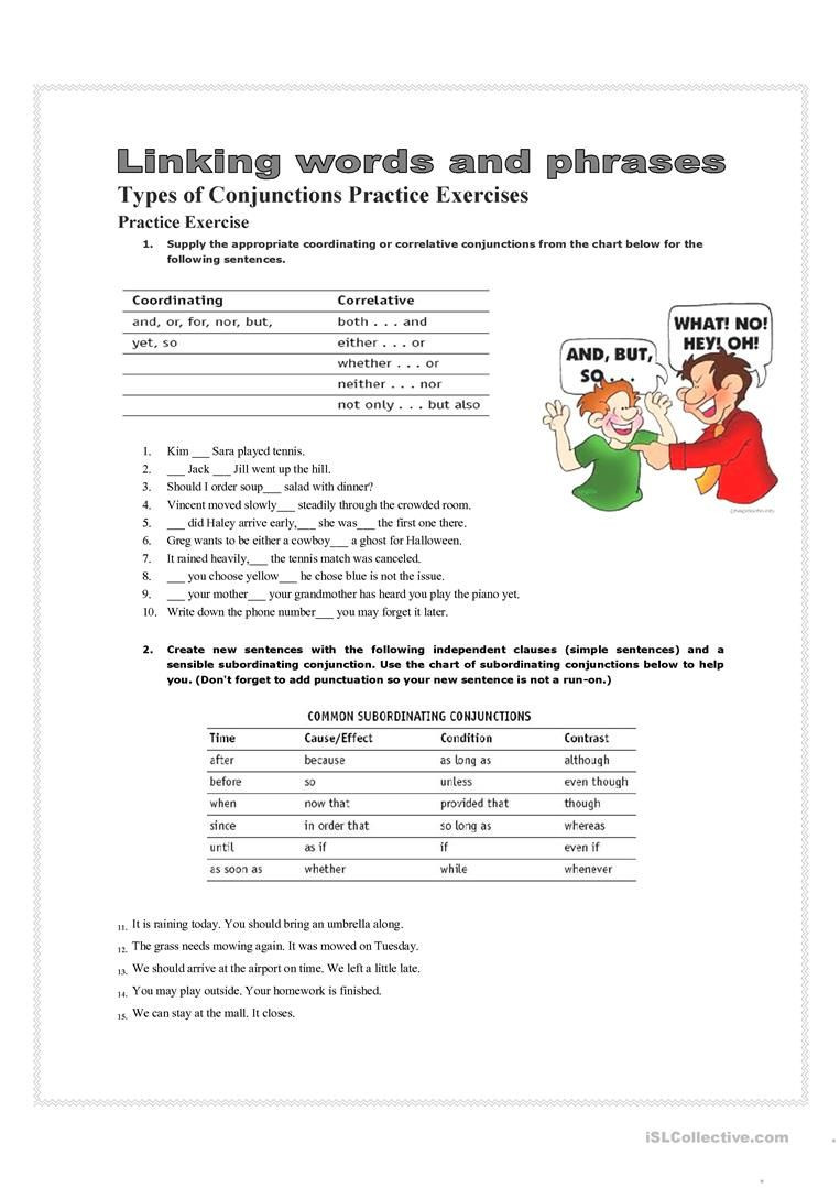Correlative Conjunctions Worksheet 5th Grade 7 Best Conjunctions Worksheets Images On Best Worksheets