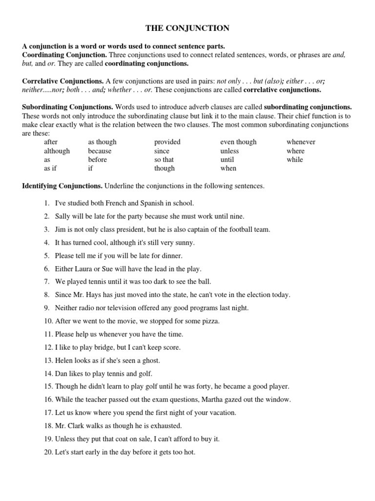Correlative Conjunctions Worksheet 5th Grade Conjunction Worksheets Pdf Style Fiction
