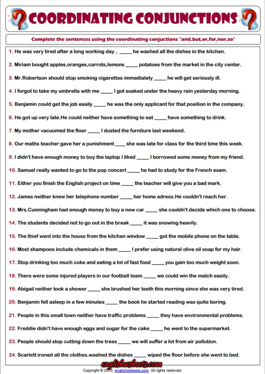 Correlative Conjunctions Worksheet 5th Grade Coordinating Conjunctions Esl Printable Grammar Worksheet
