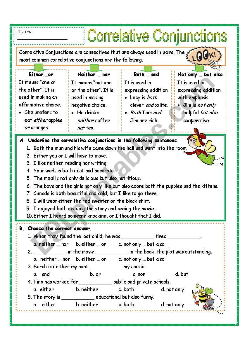 Correlative Conjunctions Worksheet 5th Grade Correlative Conjunctions Lessons Tes Teach
