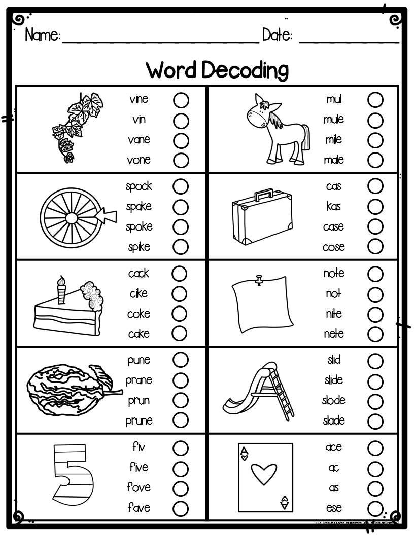 Decoding Worksheets for 1st Grade First Grade Word Decoding Practice Worksheets or assessments