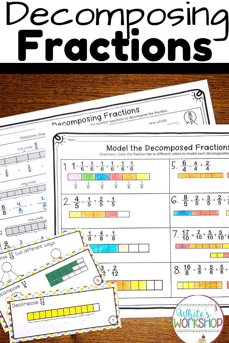Decomposing Fractions Worksheets 4th Grade De Posing Fractions Worksheets and Task Cards In 2020
