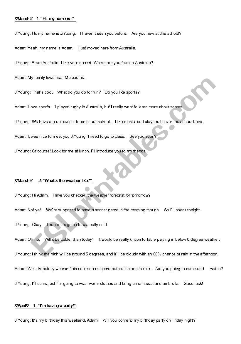 Dialogue Worksheets Middle School English Dialogues Esl Worksheet by Lynch2