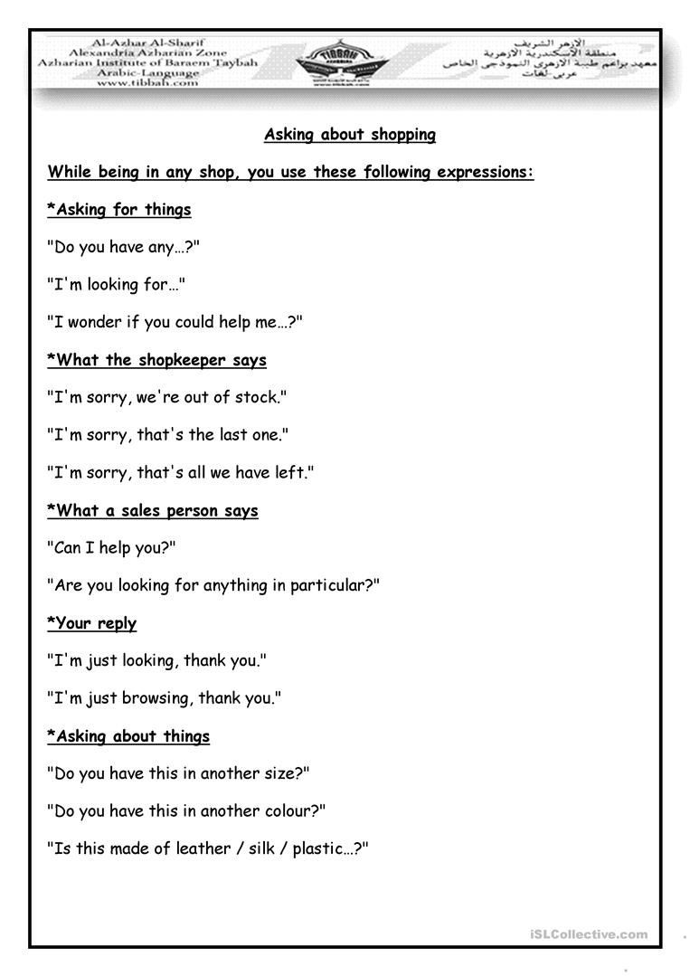 Dialogue Worksheets Middle School Shopping Dialogue