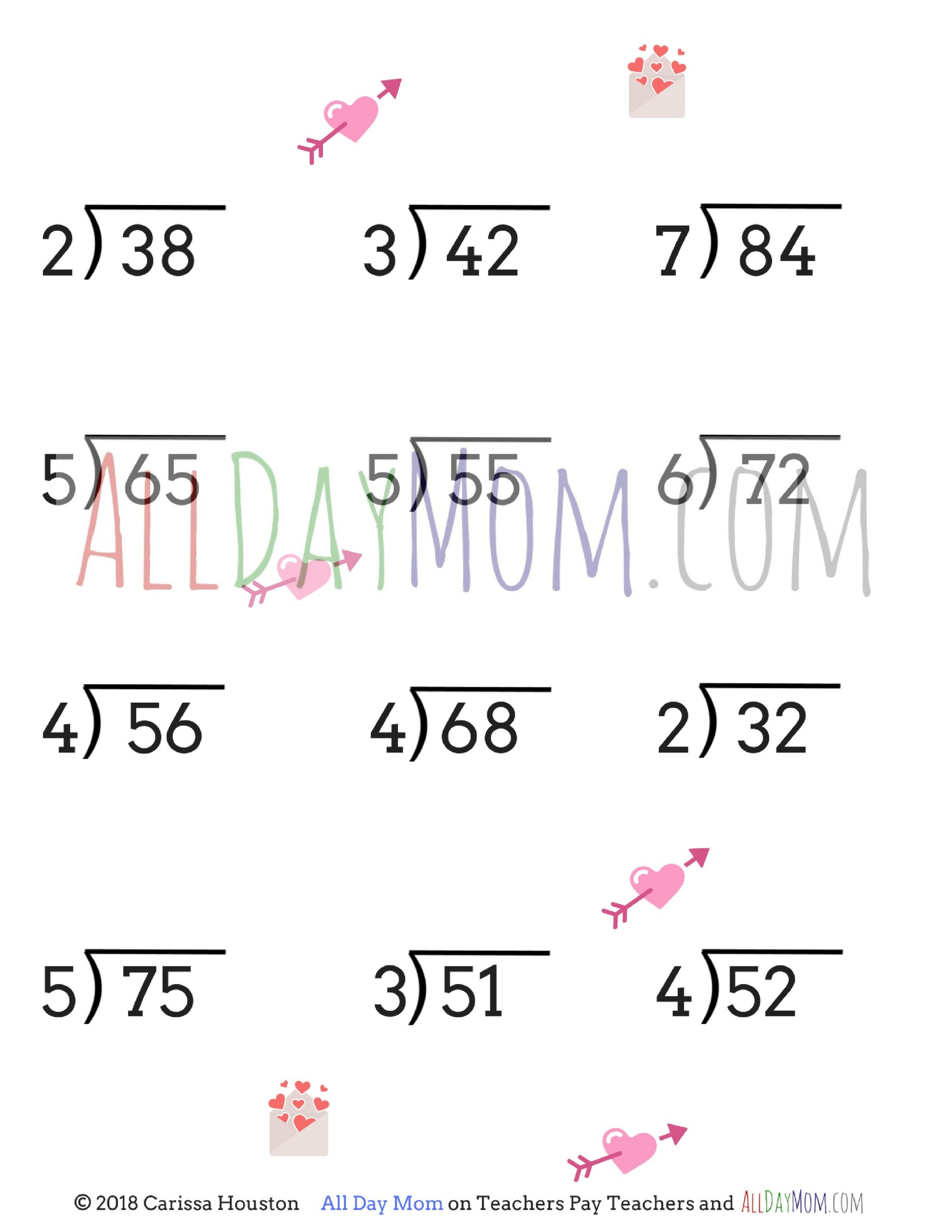 Division Worksheets for Grade 2 Free Printable Valentine S Day Math Worksheets