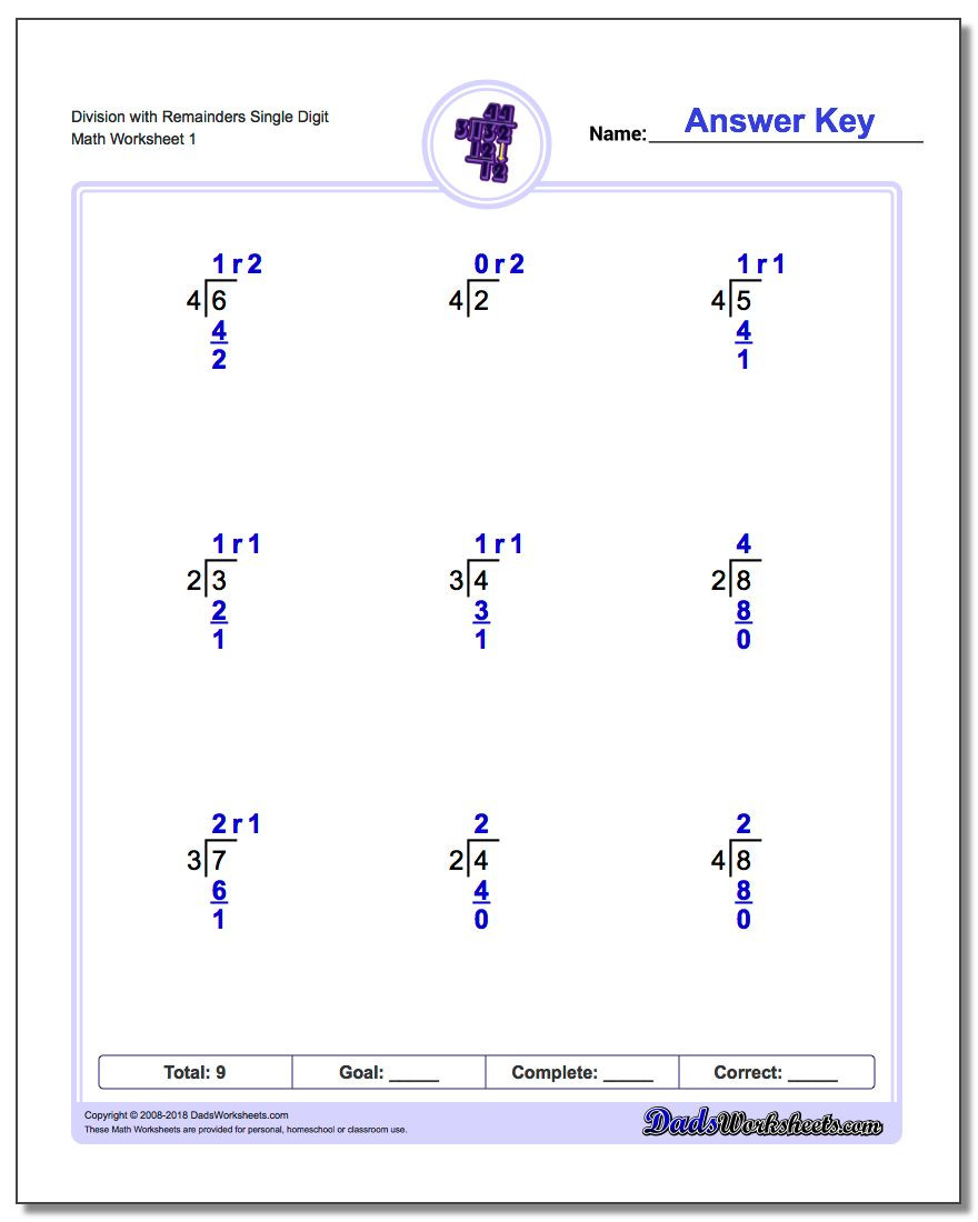 Division Worksheets for Grade 2 Long Division Worksheets