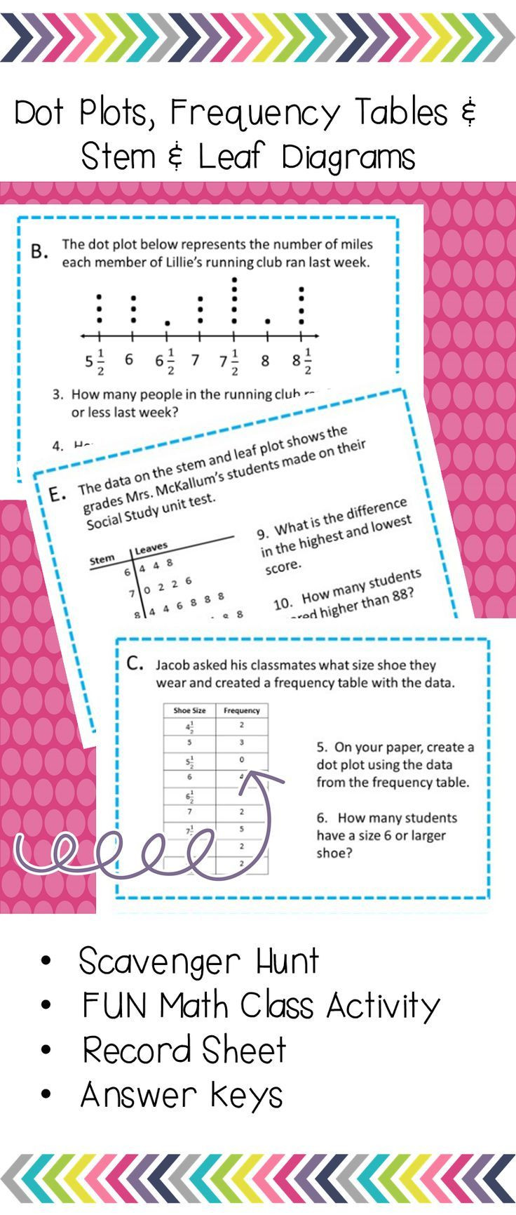 Dot Plot Worksheets 6th Grade Dot Plots Frequency Tables and Stem and Leaves Scavenger