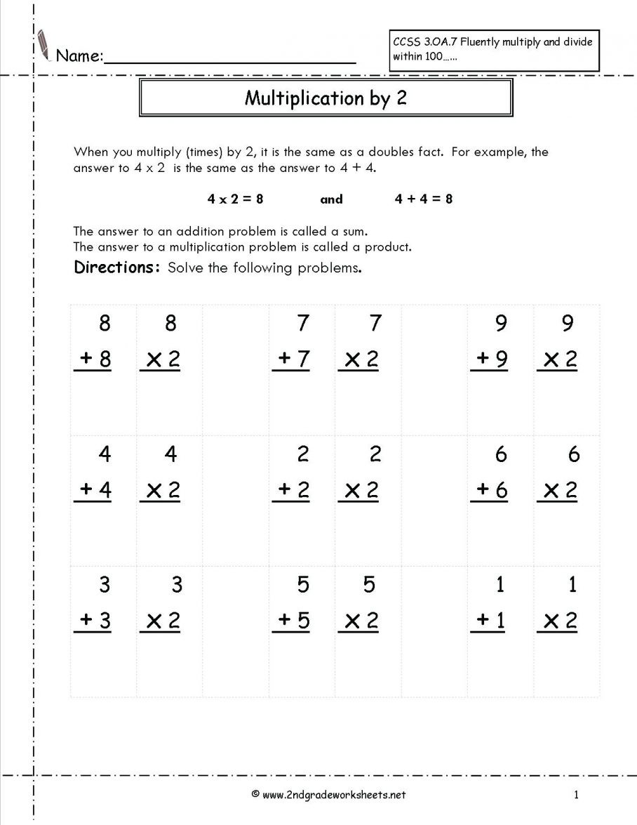 Doubles Math Fact Worksheets Doubles Facts Math Addition and Multiplication Worksheet by