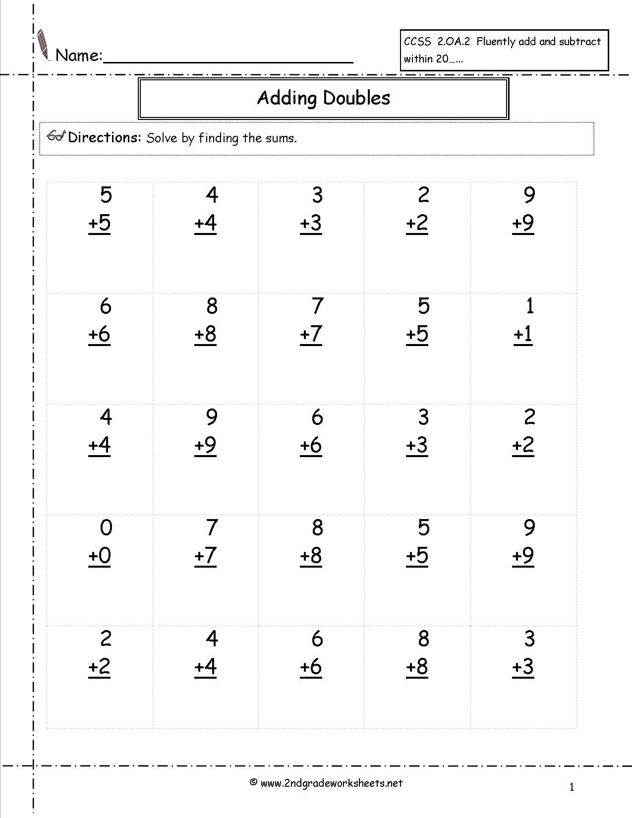 Doubles Math Fact Worksheets Doubles Facts Worksheet