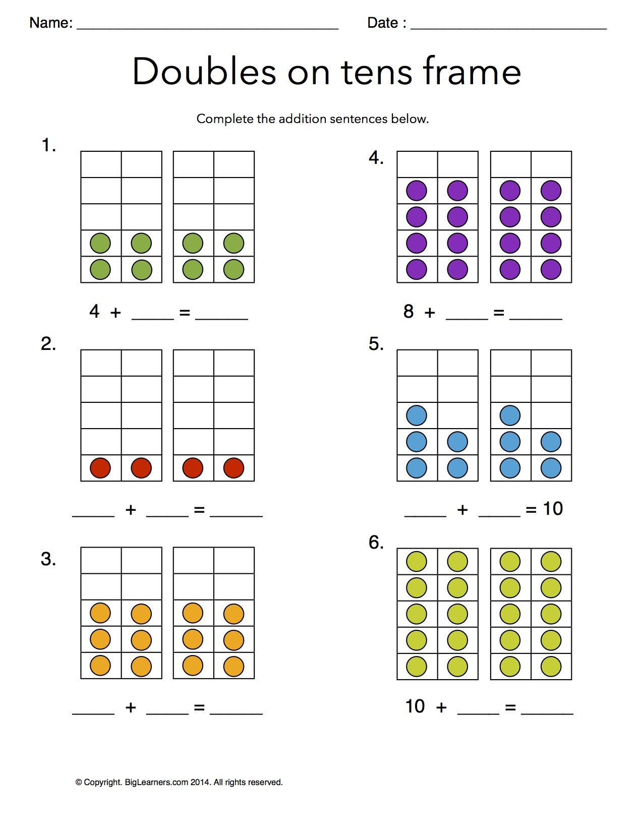 Doubles Math Worksheets Worksheet Doubles On Tens Frames