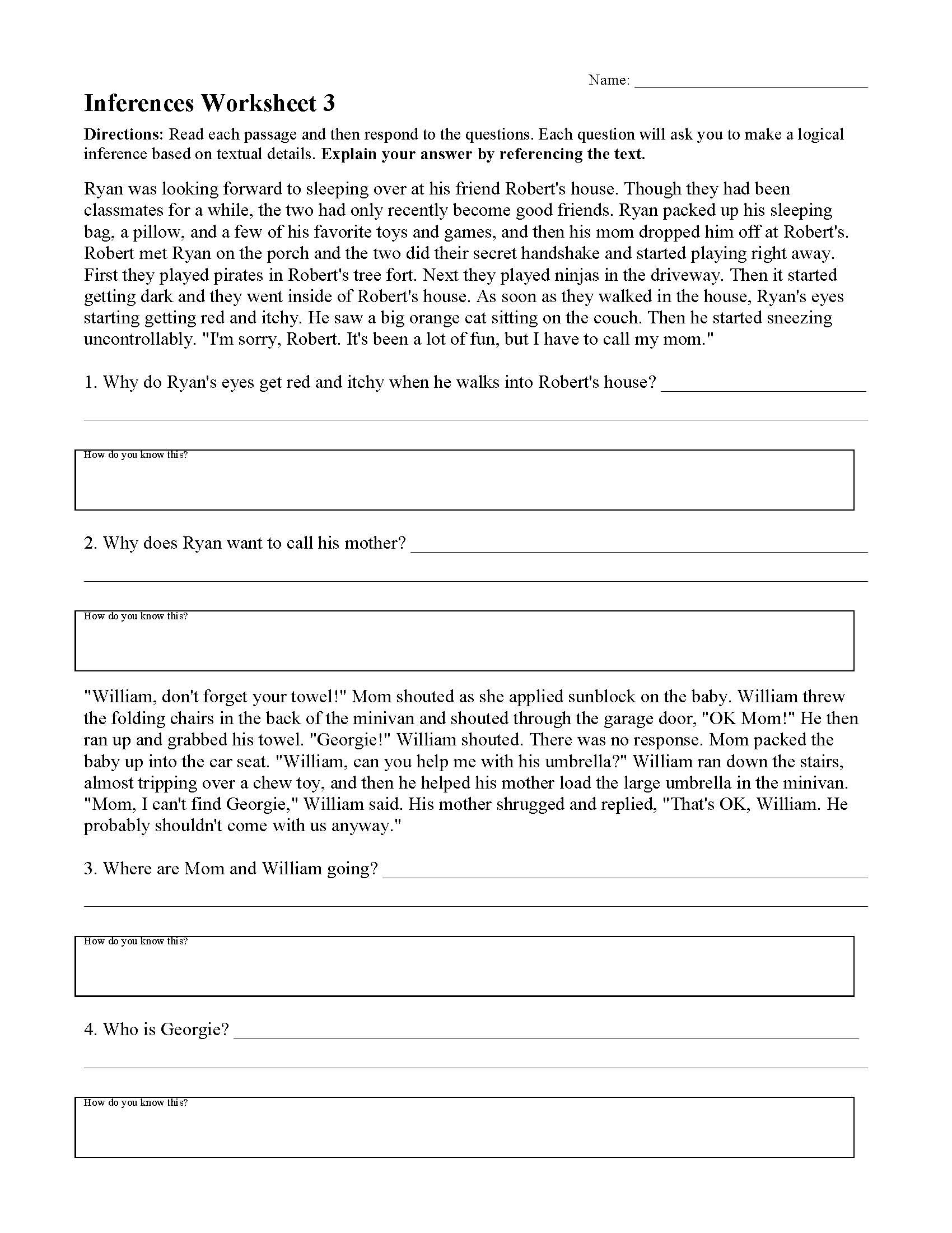 Drawing Conclusions Worksheets 4th Grade Inferences Worksheets