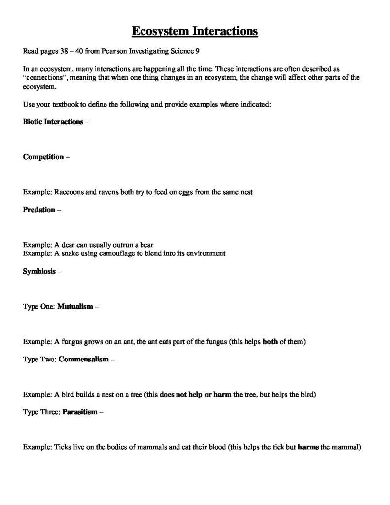 Ecology Worksheets Middle School Ecosystem Interactions and Population Characteristics